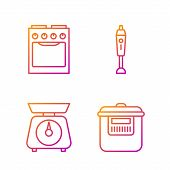 Set Line Slow Cooker , Scales , Oven And Blender . Gradient Color Icons. Vector poster