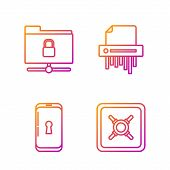Set Line Safe , Smartphone With Lock , Ftp Folder And Lock And Paper Shredder Confidential. Gradient poster