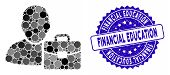 Mosaic Accounting Icon And Rubber Stamp Seal With Financial Education Caption. Mosaic Vector Is Desi poster