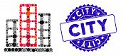 Mosaic City Icon And Grunge Stamp Seal With City Caption. Mosaic Vector Is Created With City Icon An poster