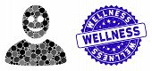 Mosaic Happy Person Icon And Rubber Stamp Seal With Wellness Phrase. Mosaic Vector Is Formed With Ha poster