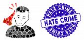 Mosaic Kickboxer Icon And Grunge Stamp Seal With Hate Crime Caption. Mosaic Vector Is Composed From  poster