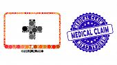Mosaic Medical Monitor Icon And Corroded Stamp Seal With Medical Claim Text. Mosaic Vector Is Compos poster