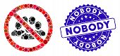 Mosaic No Crowd Icon And Grunge Stamp Seal With Nobody Phrase. Mosaic Vector Is Designed With No Cro poster