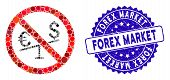 Mosaic No Forex Market Icon And Corroded Stamp Watermark With Forex Market Caption. Mosaic Vector Is poster