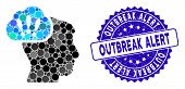 Collage Problem Brainstorm Icon And Grunge Stamp Seal With Outbreak Alert Text. Mosaic Vector Is For poster