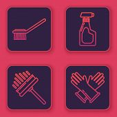 Set Line Toilet Brush , Squeegee, Scraper, Wiper, Cleaning Spray Bottle With Detergent Liquid And Ru poster