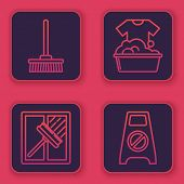 Set Line Mop , Squeegee, Scraper, Wiper, Plastic Basin With Soap Suds And Wet Floor And Cleaning In  poster