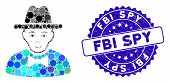 Collage Spy Icon And Grunge Stamp Seal With Fbi Spy Text. Mosaic Vector Is Formed From Spy Icon And  poster