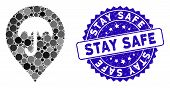 Mosaic Umbrella Marker Icon And Distressed Stamp Seal With Stay Safe Text. Mosaic Vector Is Designed poster