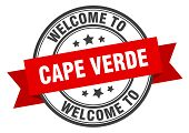 Cape Verde Stamp. Welcome To Cape Verde Red Sign poster
