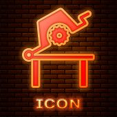 Glowing Neon Table Saw For Woodwork Icon Isolated On Brick Wall Background. Power Saw Bench. Vector  poster