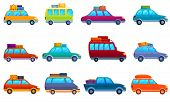 Car Trip Icons Set. Cartoon Set Of Car Trip Vector Icons For Web Design poster