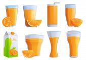 Juice Orange Icons Set. Cartoon Set Of Juice Orange Vector Icons For Web Design poster