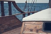 View From The Front Of The Old Wooden Ship. The Bow Of A Vintage Ship. Window In Cabin And The Lower poster