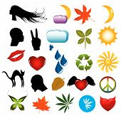stock photo of marijuana leaf  - Vector symbols nature icons and human silhouettes clip - JPG