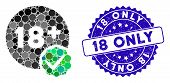 Mosaic Adults Only Icon And Corroded Stamp Watermark With 18 Only Caption. Mosaic Vector Is Formed W poster