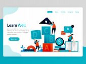 Vector Illustration For Learn Well Landing Page. Learning Well, Training Teamwork And Leadership, Le poster