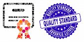 Mosaic Medical Certification Icon And Rubber Stamp Watermark With Quality Standard Text. Mosaic Vect poster