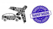Collage Transport Icon And Distressed Stamp Seal With Transport Emissions Text. Mosaic Vector Is Com poster
