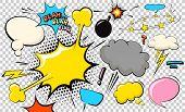 Pop Art Cloud Bubble. Blah, Blah, Blah Funny Speech Bubble. Trendy Colorful Retro Vintage Comic Back poster