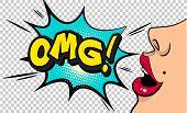 Omg!  Pop Art Cloud Bubble. Wow, What,  Ok, Funny Speech Bubble. Trendy Colorful Retro Vintage Backg poster