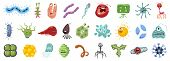 Bacteria Of Virus Vector Cartoon Set Icon.vector Illustration Infection Germ On White Background.iso poster