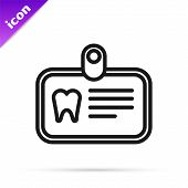 Black Line Id Card With Tooth Icon Isolated On White Background.  Vector Illustration poster