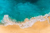 Aerial View Of Turquoise Ocean Waves In Kelinking Beach, Nusa Penida Island In Bali, Indonesia. Beau poster