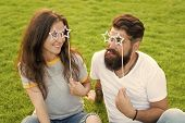 Enjoying Funny Photo Booth. Funny Couple Looking Through Prop Glasses On Green Grass. Bearded Man An poster