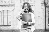 Kid Smiling Girl School Student Hold Workbooks Textbooks For Studying. Education For Gifted Children poster