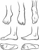 Seven black-outlined man feet