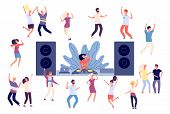 Dancing People. Dj Disco Party, Dance Women, Men And Couples. Happy Friends On Music Event, Fun Isol poster