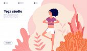 Yoga Landing Page. Meditation Woman Banner, Outdoors Exercise On Nature. Workout Studio, Healthy Mod poster