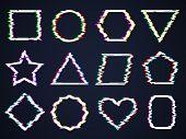 Glitch Square Frames. Interference Damaged Noise Cyber Forms Broken Rectangular Shapes Distortion Ef poster