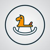 Rocking Horse Icon Colored Line Symbol. Premium Quality Isolated Wooden Pony Element In Trendy Style poster