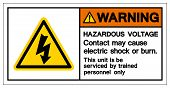 Warning Hazardous Voltage Contact May Cause Electric Shock Or Burn Symbol Sign, Vector Illustration, poster