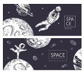 Set Of Horizontal Backgrounds. An Astronaut Is Ice Skating In Space. Astronaut Catches A Planet. poster