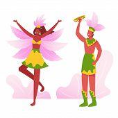 Brazilian Tambourine Player Singing And Playing, Girl Dancer Performing Samba At Rio Carnival. Artis poster
