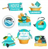 House Cleaning And Housekeeping Service Vector Icons. Laundry And Housework Cleaning Tools, Window W poster