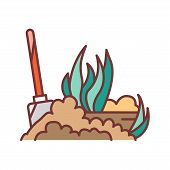 Soil Fluffing Color Line Icon. The Process Of Preparing The Soil For Planting. Pictogram For Web Pag poster