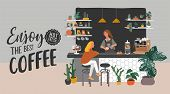 Coffee Shop Or Cafe Interior Design And Scene. Character Of Girl Barista Make Cappuccino Art And Hap poster