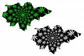Mopti Region (regions Of Mali, Republic Of Mali) Map Is Designed Cannabis Leaf Green And Black, Mopt poster