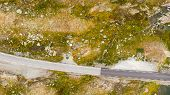 Motorhome Camper Car Van On Road Trip. Norway Mountains Landscape. Norwegian National Tourist Scenic poster