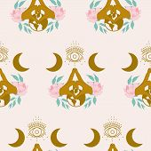 Golden Hands And Celestial Elements In  A Seamless Pattern Design poster