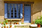 picture of quaint  - Blue door and windows surrounded by potted plants in quaint french village town of Cordes sur Ciel in Southwest France - JPG