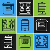 Set Line Slow Cooker , Double Boiler And Gas Stove Icon. Vector poster