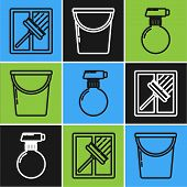 Set Line Squeegee, Scraper, Wiper, Cleaning Spray Bottle With Detergent Liquid And Bucket Icon. Vect poster