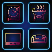 Set Line Sofa , Video Game Console , Vinyl Player With A Vinyl Disk And Barbecue Grill . Gradient Co poster