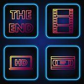 Set Line Vhs Video Cassette Tape , Laptop Screen With Hd Video Technology , The End Handwritten Insc poster